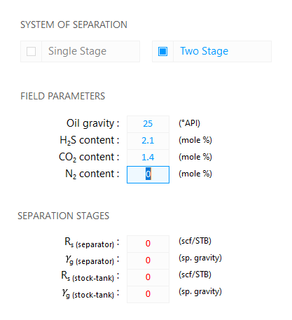 Fluid Property Calculator: Two Stage System of Separation — Edit Nitrogen content in the gas stream