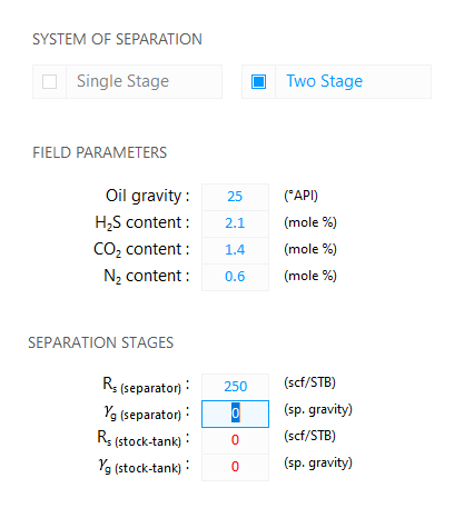 Fluid Property Calculator: Two Stage System of Separation — Edit the separator gas specific gravity