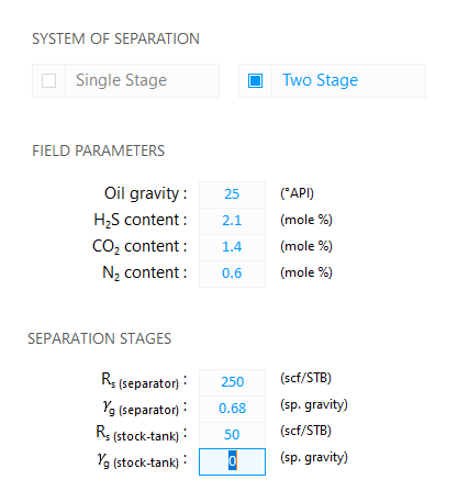 Fluid Property Calculator: Two Stage System of Separation — Edit the stock-tank gas specific gravity