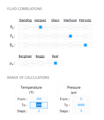 Fluid Modeling Software — Range of Calculations: Edit the final temperature