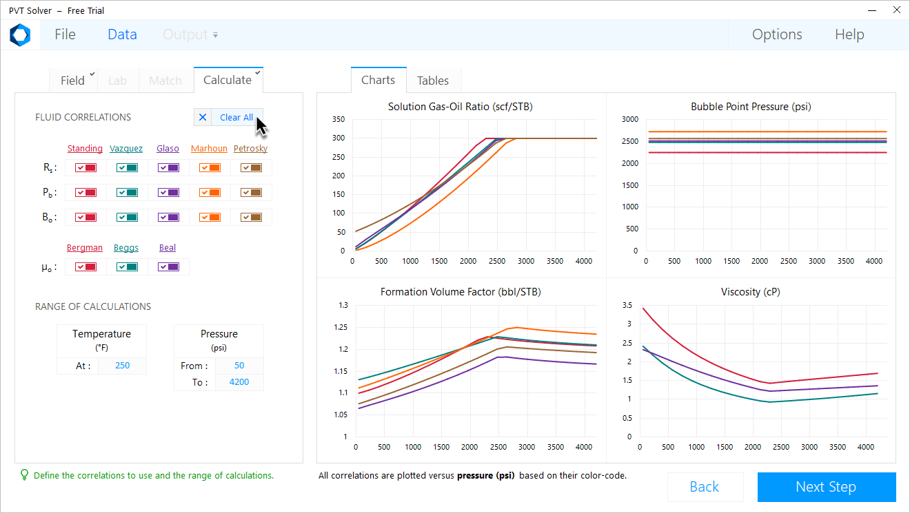 PVT Solver Interface — Select every single black oil correlation
