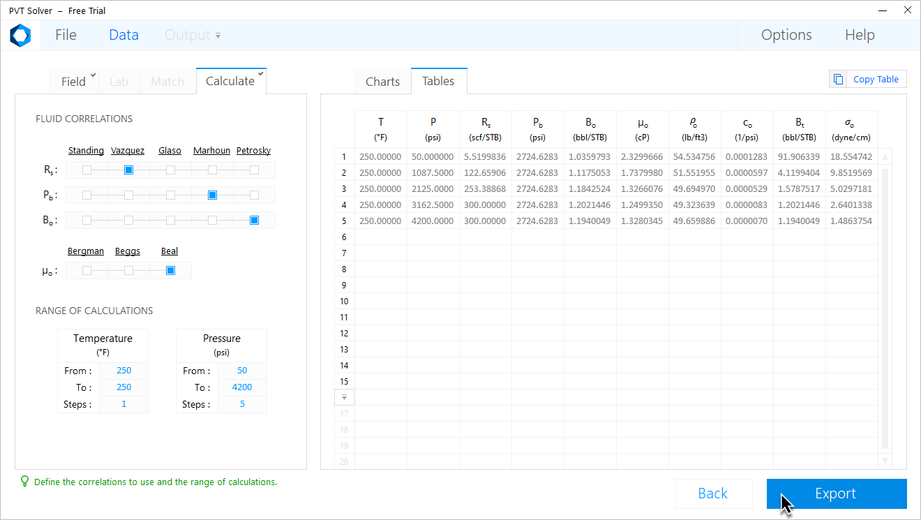 PVT Solver Interface — Calculate black oil properties