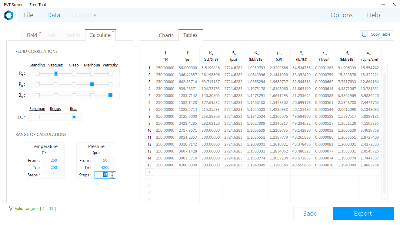 PVT Solver Interface — Enter the number of calculation steps