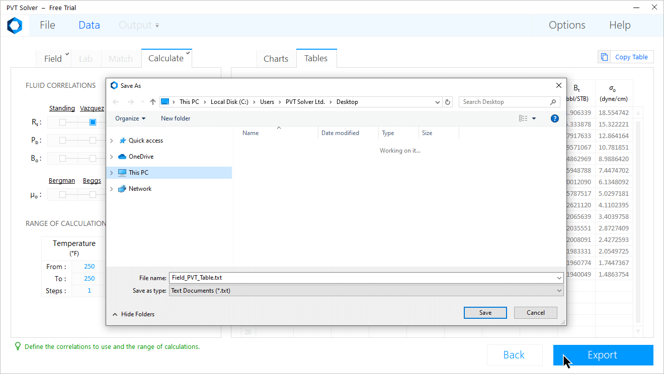 PVT Solver Interface — Export black oil PVT tables to text file